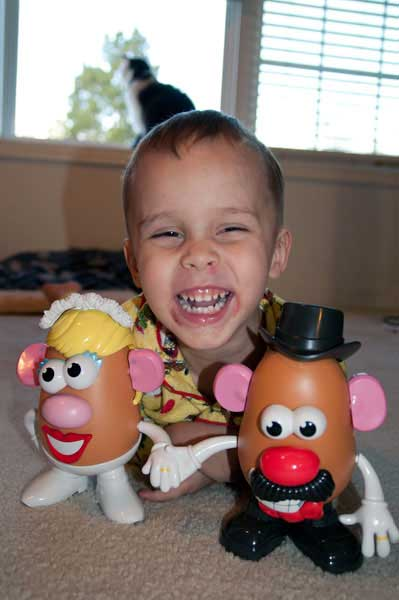 He thinks his Mashly in Love Mr & Mrs Potato Head are so cute!