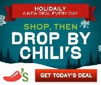 Chilis Coupons: Free Food Daily through Christmas Eve!