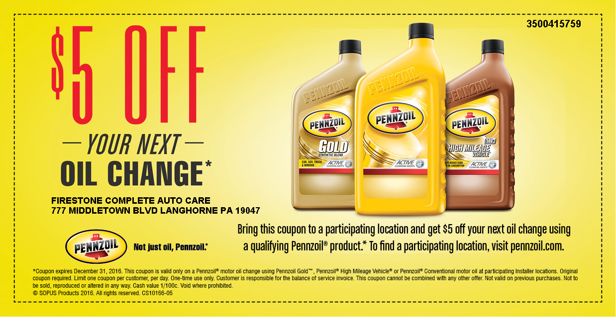pennzoil oil change 5 dollars