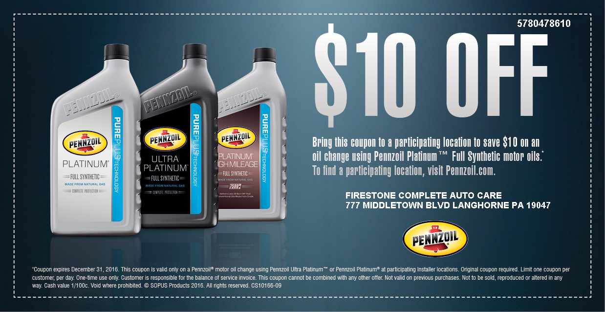pennzoil oil change coupon 10