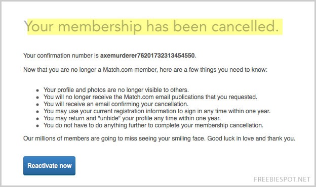 cancel match.com subscription step 4