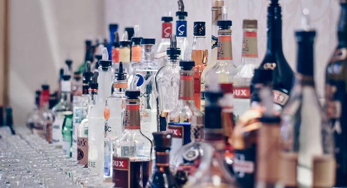 wedding bar bottles