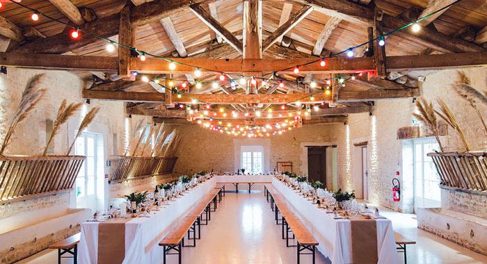 wedding reception wood beams